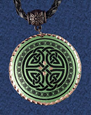 Green Celtic Copper Pendant Free Shipping On Orders Over