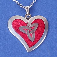 Red Enamel Heart Pendant - Celtic Pendants, Claddagh Pendants and much more!, Enameled Jewelry, Hearts & Romance