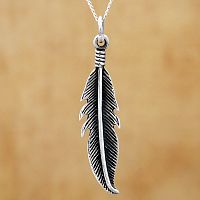 Silver Feather Pendant - Sterling Silver Pendants - Celtic, Goddess, Fantasy, Pagan, Nature, Witch, Wiccan, Feathers