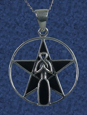 Goddess Pentacle Pendant - Sterling Silver Pendants - Celtic Pendants, Pagan Pendants, Claddagh Pendants, Unusual Pendants, Nature Pendants, Moons & Stars, Goddess, Pentacles