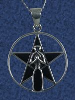 Goddess Pentacle Pendant - Celtic Pendants, Claddagh Pendants and much more!, Moons & Stars, Goddess, Pentacles, Pagan Jewelry, New Lower Silver Prices, Stars