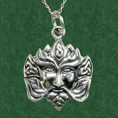 Greenman Pendant - Sterling Silver Pendants - Celtic Pendants, Pagan Pendants, Claddagh Pendants, Unusual Pendants, Nature Pendants, Trees & Greenman