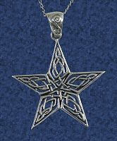 Knotwork Star Pendant - Celtic Pendants, Claddagh Pendants and much more!, Moons & Stars, Celtic Jewelry, Pagan Jewelry, New Lower Silver Prices, Stars