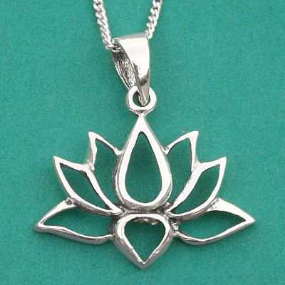 Silver Lotus Flower Pendant - Sterling Silver Pendants - Celtic, Goddess, Fantasy, Pagan, Nature, Witch, Wiccan