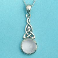 Silver Celtic Moonstone Pendant - White