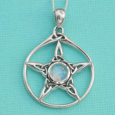 Silver moonstone triquetra pentacle pendant at gryphons moon silver moonstone triquetra pentacle pendant aloadofball Gallery