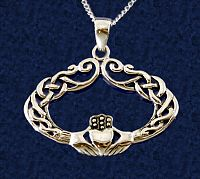 Curlique Claddagh Pendant - Clearance Jewelry, Celtic Pendants, Claddagh Pendants and much more!, Clearance