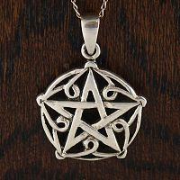 Petal Pentacle Pendant - Celtic Pendants, Claddagh Pendants and much more!, Stars, Pentacles, Pagan