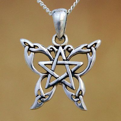 Silver Petite Celtic Butterfly Pendant