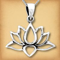 Silver Lotus Flower Pendant - Pagan Jewelry, Celtic Jewelry, Handmade Cloaks, and more.