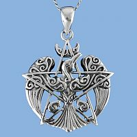 Crescent Raven Pendant - Celtic Pendants, Claddagh Pendants and much more!, Paul Borda, Ravens, Take Flight, Nature, Celtic Jewelry, Pagan Jewelry, Stars