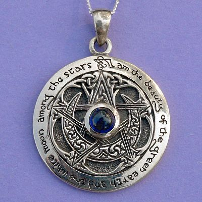Silver sapphire moon pentacle pendant at gryphons moon silver sapphire moon pentacle pendant aloadofball Gallery