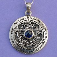 Sapphire Moon Pentacle Pendant - Celtic Pendants, Claddagh Pendants and much more!, Pentacles, Moons & Stars, Pagan, Pagan Jewelry, Stars