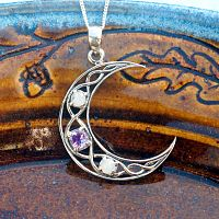 Silver Crystal Moon Pendant
