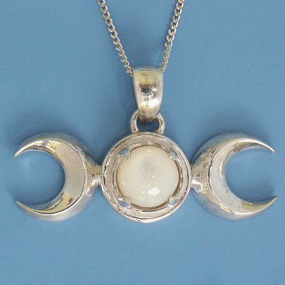 Silver Triple Moon Pendant with Mother of Pearl
