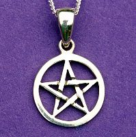 Small Pentacle Pendant - Sterling Silver Pendants - Celtic Pendants, Pagan Pendants, Claddagh Pendants, Unusual Pendants, Nature Pendants, Pentacles, Moons & Stars