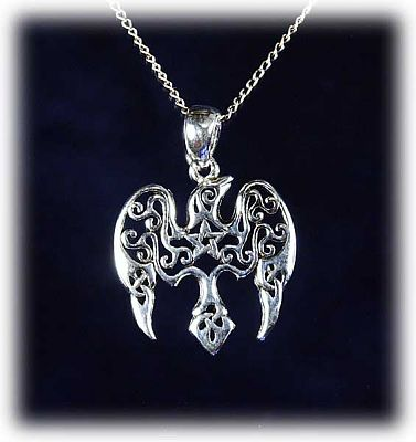 Star Raven Pendant - Pentacles, Sterling Silver Pendants - Celtic Pendants, Pagan Pendants, Claddagh Pendants, Unusual Pendants, Nature Pendants, Ravens, Moons & Stars