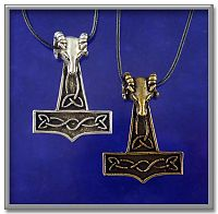 Rams Head Thor's Hammer - Thor's Hammer, Pagan, Gifts for Guys, Gifts Under $20, More Pendants, Pagan Jewelry