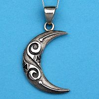 Silver Tribal Moon Pendant