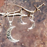 Silver Tribal Moon Earrings