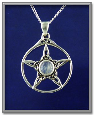 Moonstone Triquetra Pentacle Pendant - Pentacles, Sterling Silver Pendants - Celtic Pendants, Pagan Pendants, Claddagh Pendants, Unusual Pendants, Nature Pendants, Moons & Stars