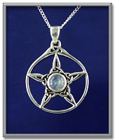 Moonstone Triquetra Pentacle Pendant - Pentacles, Celtic Pendants, Claddagh Pendants and much more!, Triquetras, Moons & Stars
