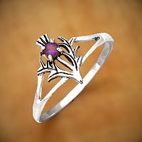 Silver Amethyst Thistle Ring - Rings - Celtic, Fantasy, Pagan, Claddagh, Wedding and More, Sterling Silver Rings - Celtic, Pagan, Fantasy, Claddagh, Nature, Witch, Wiccan, Silver Amethyst Thistle Jewelry