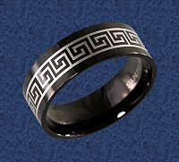 Black Greek Key Ring - Clearance Jewelry, Clearance