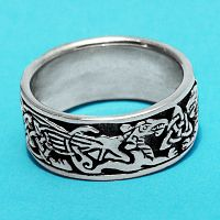 Silver Celtic Dragons Ring