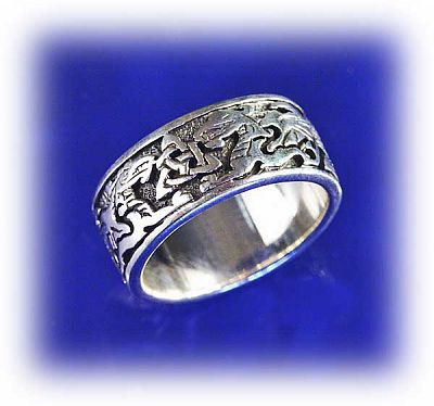 Celtic Dragons Ring - Celtic Rings, Claddagh Rings, Wedding Rings and More, Here Be Dragons!, Handfasting & Wedding, Sterling Silver Rings - Celtic Rings, Pagan Rings, Claddagh Rings, Unusual Rings, Nature Rings, Wedding Rings, Engagement Rings