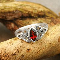 Silver Garnet Celtic Ring - Size 9