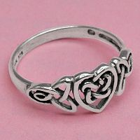 Silver Celtic Heart Ring - Celtic, Romance, Rings - Celtic, Fantasy, Pagan, Claddagh, Wedding and More, Sterling Silver Rings - Celtic, Pagan, Fantasy, Claddagh, Nature, Witch, Wiccan, Hearts & Romance