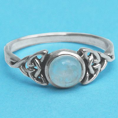 Silver Moonstone Celtic Ring at Gryphon's Moon
