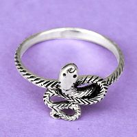 Coiled Silver Snake Ring