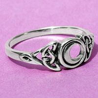 Silver Celtic Moon Ring - Celestial, Celtic, Rings - Celtic, Fantasy, Pagan, Claddagh, Wedding and More, Moons & Stars, Sterling Silver Rings - Celtic, Pagan, Fantasy, Claddagh, Nature, Witch, Wiccan, Moon Jewelry