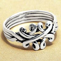 Silver Crossed Hearts Puzzle Ring
