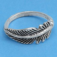 Silver Feather Ring - Rings - Celtic, Fantasy, Pagan, Claddagh, Wedding and More, Sterling Silver Rings - Celtic, Pagan, Fantasy, Claddagh, Nature, Witch, Wiccan, Feathers
