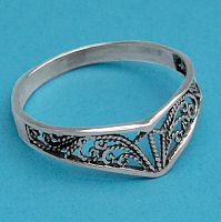 Filigree Chevron Ring - Celtic Rings, Claddagh Rings, Wedding Rings and More, Sterling Silver Rings - Celtic Rings, Pagan Rings, Claddagh Rings, Unusual Rings, Nature Rings, Wedding Rings, Engagement Rings