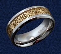 Golden Beasties Steel Ring - Celtic Rings, Claddagh Rings, Wedding Rings and More!, Stainless Steel Rings, Wedding & Engagement Rings - Stainless Steel