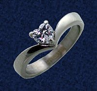 Stainless Steel Heart Solitaire Ring