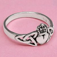 Silver Knotwork Claddagh Ring
