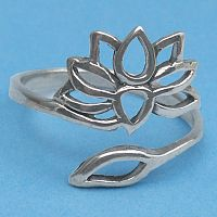 Silver Lotus and Leaf Ring