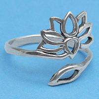 Silver Lotus and Leaf Ring - Rings - Celtic, Fantasy, Pagan, Claddagh, Wedding and More, Sterling Silver Rings - Celtic, Pagan, Fantasy, Claddagh, Nature, Witch, Wiccan, Trees & Greenman