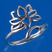 Lotus and Leaf Ring - Sterling Silver Rings - Celtic Rings, Pagan Rings, Claddagh Rings, Unusual Rings, Nature Rings, Wedding Rings, Engagement Rings, Trees & Greenman