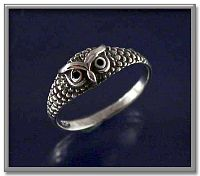 Owl Ring - Celtic Rings, Claddagh Rings, Wedding Rings and More, Owls, Sterling Silver Rings - Celtic Rings, Pagan Rings, Claddagh Rings, Unusual Rings, Nature Rings, Wedding Rings, Engagement Rings