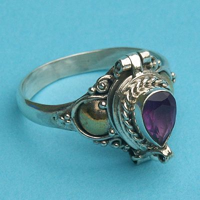 Size 7 Amethyst Teardrop Poison Ring - Celtic Rings, Claddagh Rings, Wedding Rings and More, Poison Rings, Locket Rings, Box Rings, Compartment Rings, Potion Rings, Sterling Silver Rings - Celtic Rings, Pagan Rings, Claddagh Rings, Unusual Rings, Nature Rings, Wedding Rings, Engagement Rings