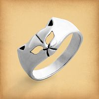 Silver Cat Face Ring