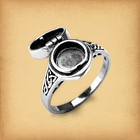 Silver Celtic Spirals and Knots Poison Ring