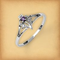 Silver Amethyst Thistle Ring