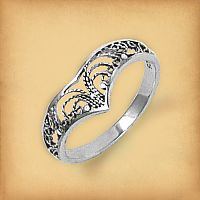 Silver Filigree Chevron Ring